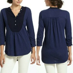 Anthropologie Meadow Rue Slubby Ruched Henley Top